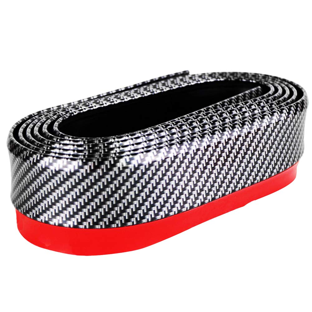 2.5 meters, Black Yolu Car Universal Front Bumper Lip Strip Auto Carbon Fiber Splitter Side Skirt Roof Spoiler Waterproof Protection