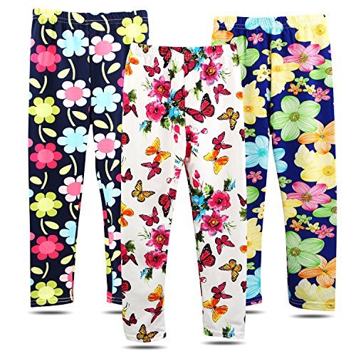 BOOPH 3 Pack Girls Pants Soft Stretchy Baby Toddler Girl Legging Flower Butterfly Printing Kids Long Pant 2-3 Year -