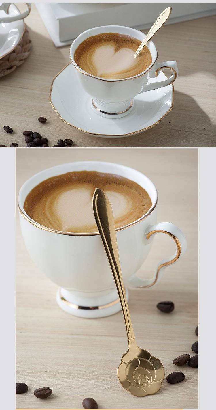 Juegos de tazas y platos Estilo europeo Superior Marfil Blanco Cer/ámica Hueso China Porcelana Drinkware Juego de caf/é con plato de taza y cuchara de oro rosa