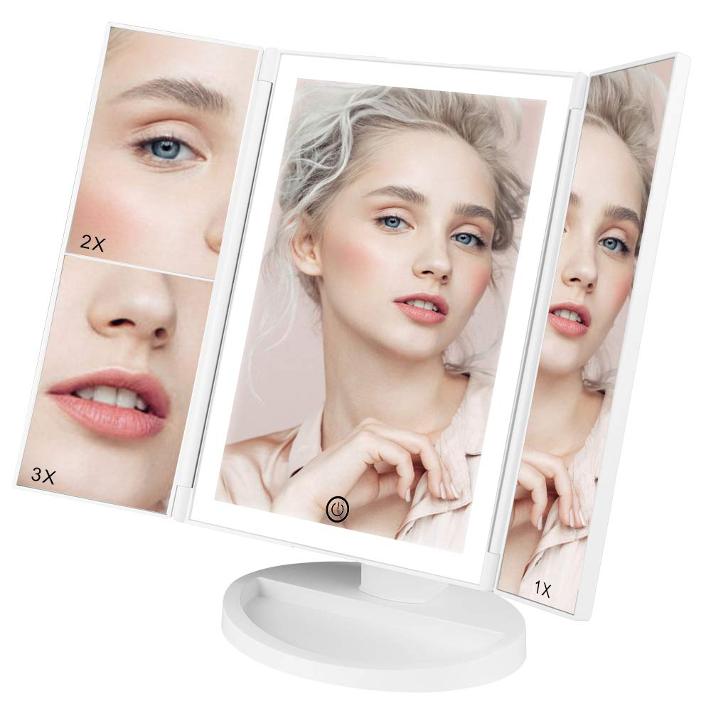 Lighted Makeup Mirror, Trifold Vanity Mirror with Lights 38 LED, 3X 2X 1X Magnification, Touch Screen Dimming 180 Rotation Tabletop Mirror, Portable Dual Power Cosmetic Bathroom Light Up Mirror