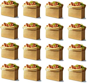 CheeseandU 50Pack Natural Kraft Brown Paper Snack Sandwich Bags 4.7x2x2.7inch Durable Paper Sandwich Hamburger Snack Holder Bag Food Grade Grease Resistant for Party School Home Baking Tool