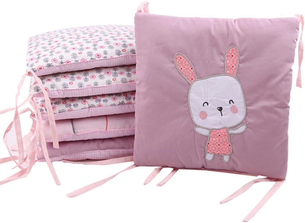 6 Piezas Set de Ropa para Cuna de Algodón, Protector de Cuna para Bebé, Esponjosa y Suave, Bordado de Dibujos Animados 30 * 30 cm (Conejo)