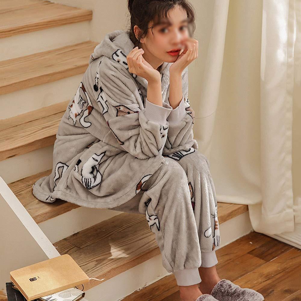 ZZHF shuiyi Pijamas, Invierno Sueltos Mujer Espesar Pijamas Sueltos Invierno Impresión Cómoda con Capucha Ropa para el hogar Conjunto Movimiento de Manga Larga Ropa de Ocio, Gris camisón 5e5302
