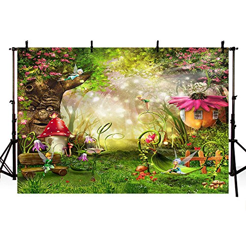 MEHOFOTO Photo Studio Booth Background Fairy Tale Enchanted Forest Theme Birthday Party Decoration Banner Backdrops for Photography 8x6ft