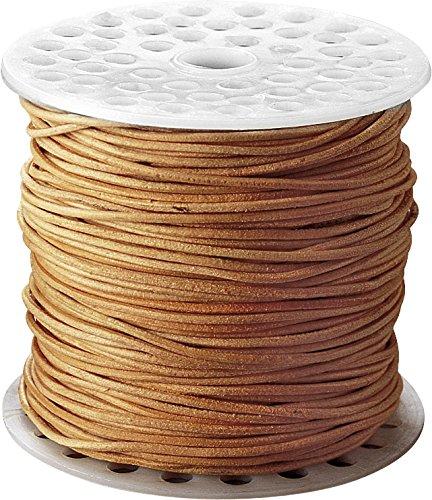 Knorr prandell 212249301 Lederriemen Großrolle (zum Schmuckbasteln, 20 Meter lang, 2 mm Durchmesser, natur)