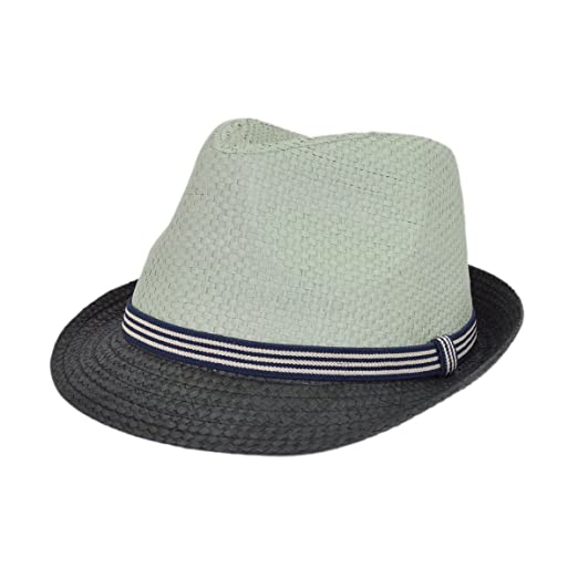 735b7808 Premium 2 Tone Fedora Straw Hat with Striped Band, Grey at Amazon Men's  Clothing store: