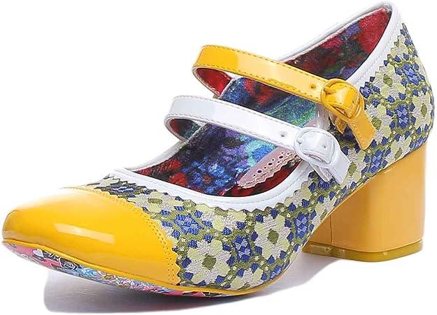 60s Shoes, Boots Irregular Choice Mini MOD Heels Women Yellow/Green Heels £89.99 AT vintagedancer.com
