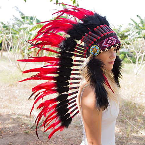 Novum Crafts Feather Headdress | Native American Indian Inspired | Red by Novum Crafts (Image #2)