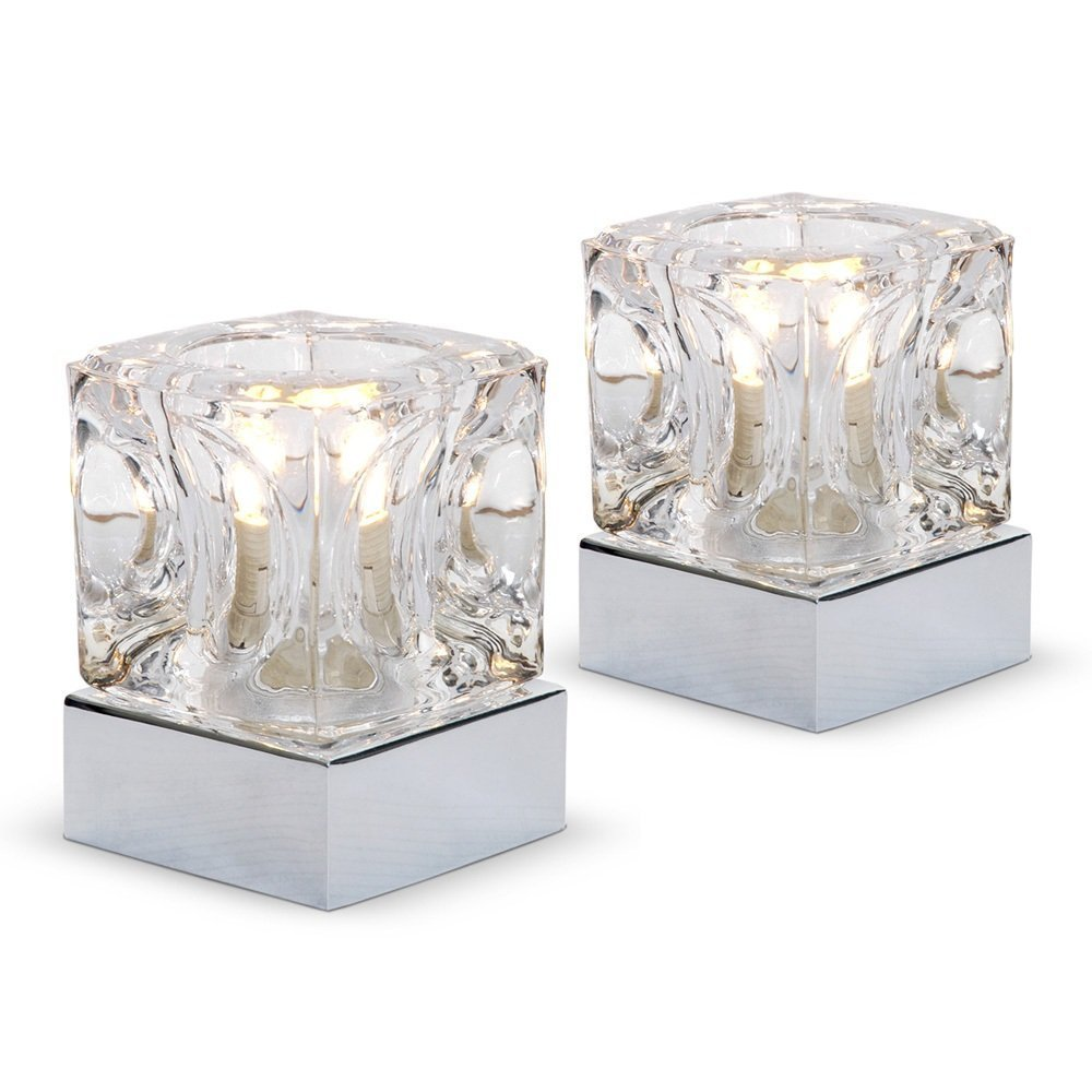pair of  modern glass ice cube touch table lamps with chrome basesamazoncouk kitchen  home. pair of  modern glass ice cube touch table lamps with chrome