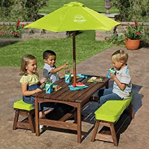 Amazon Com Kids Picnic Table Amp Benches With Umbrella