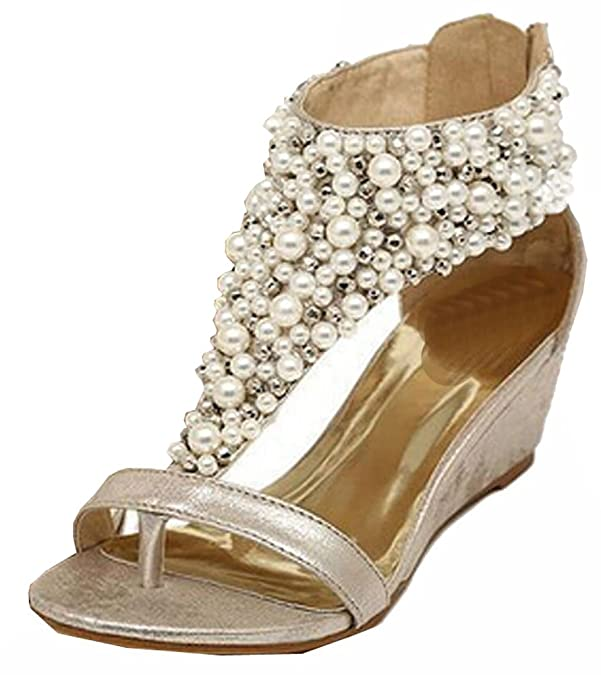 31cc2973a22a 2015 summer Rhinestone zipper pearl beaded high heels gold black wedges  sandals women shoes  Amazon.co.uk  Shoes   Bags