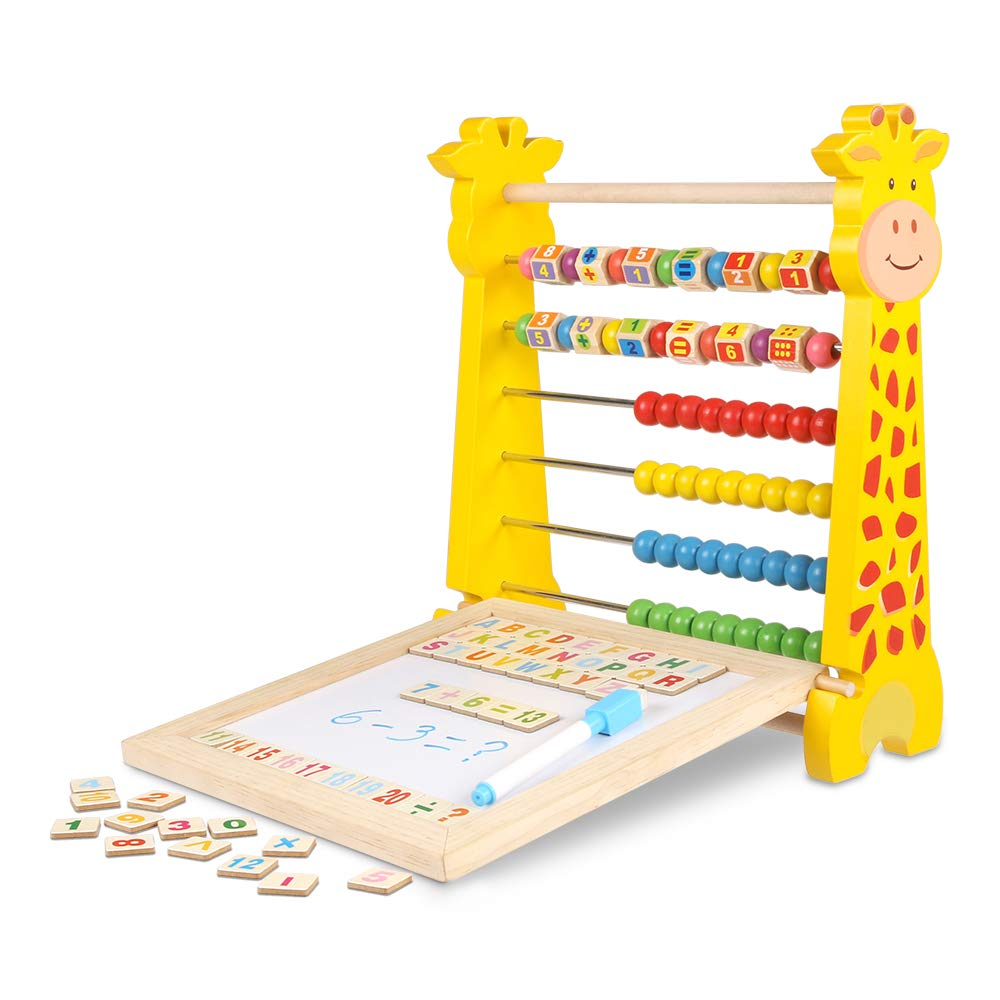 Multi-Functional Puzzle Calculating Writing Toys CESTFINI Wooden Learning Drawing Board for Kids Chalk Including Magnetic Wooden Letters and Numbers Ltd Beaded Board Brush T006 Zhejiang Bella Luna Baby Products Co