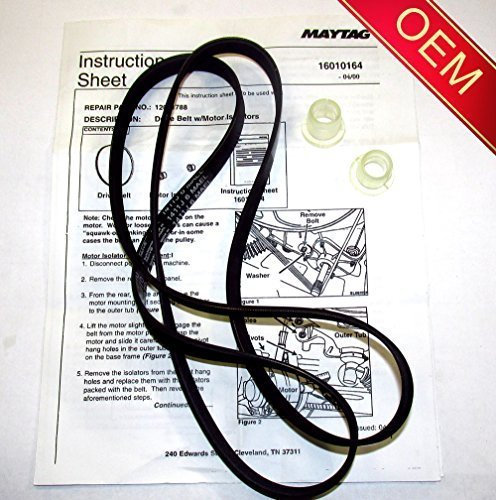 12001788 - ORIGINAL FACTORY OEM BELT & ISOLATOR KIT FOR MAYTAG NEPTUNE, ADMIRAL, AND CROSLEY WASHING MACHINES ( Will come in sealed Maytag or Whirlpool Bag with Instructions) by OEM MAYTAG