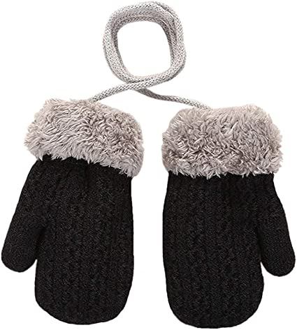 Baby Toddler Winter Warm Mittens Thicken Knitted Magic Mittens Cute Fox Knit Gloves with Furry Lining Hanging On Neck Mittens for Girls Boys Age 1-3Years Gift