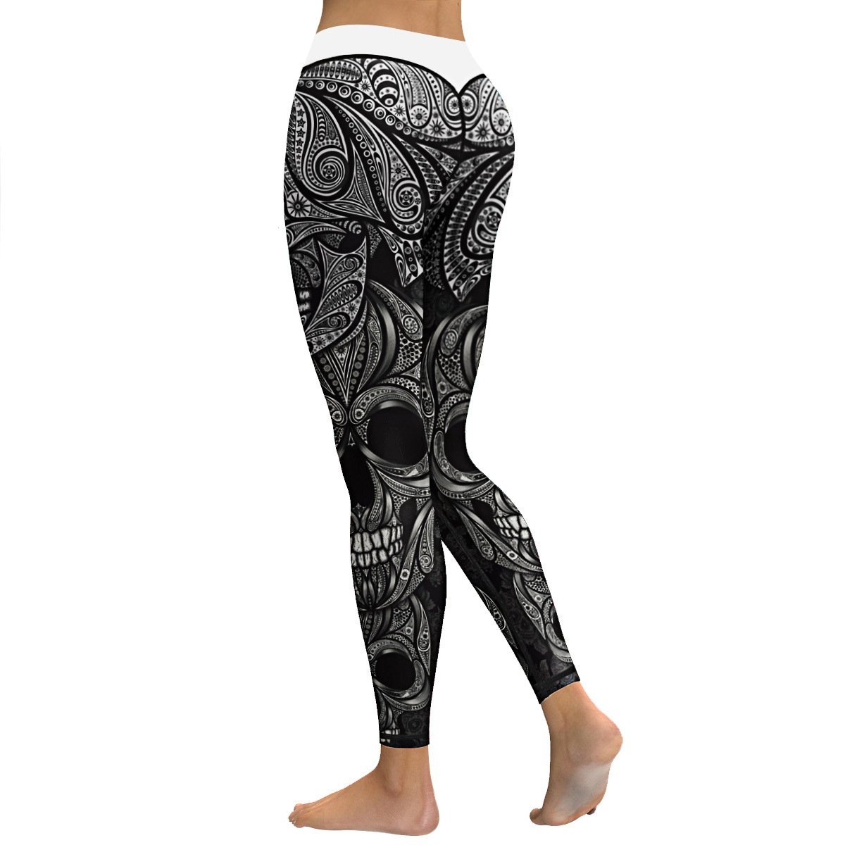 f927697c204522 Amazon.com: Women's Sugar Skull Print Yoga Workout Running Gym Leggings  Skinny Tights Active Yoga Pants: Clothing