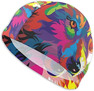 AKLID Rainbow Wolf Swimming Caps for Men and Women are Also Suitable for Boys and Girls.