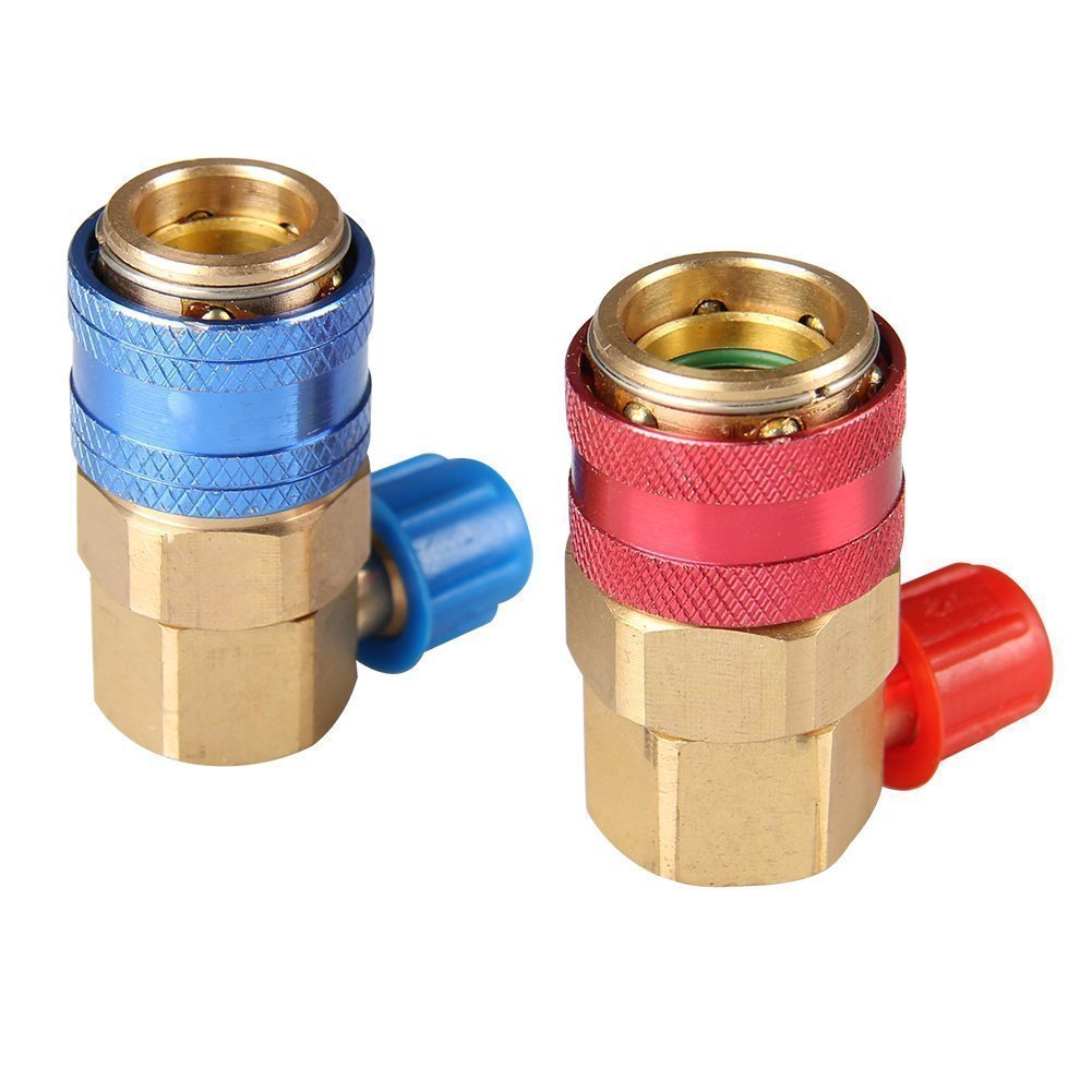 Bang4buck R134A L Quick Coupler Adapter Fittings High Low AC Freon Manifold Gauge Hose Conversion kit