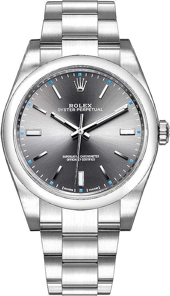 Rolex Oyster Perpetual 114300 Dark Rhodium Dial Mens Watch