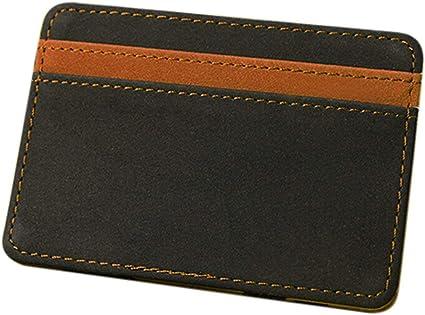 Magic Flip Wallet Money Clip /& Credit Card ID Holder Dark Brown Leather