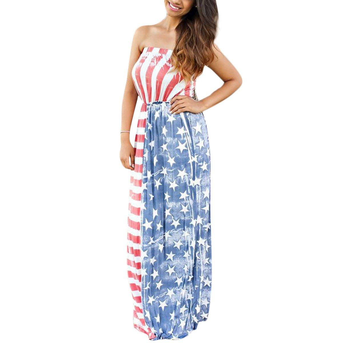 90e7372361e ZMLIA Womens American Flag Print 4th July Patriotic Strapless High Waist  Maxi Dresses at Amazon Women s Clothing store