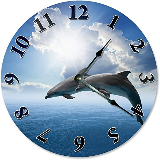 Sugar Vine Art DOLPHINS AND BLUE SKY Beach Clock Large 10.5 Wall Clock Decorative Round Circle Clock Home Decor Novelty Clock BLUE SKY, CLOUDS