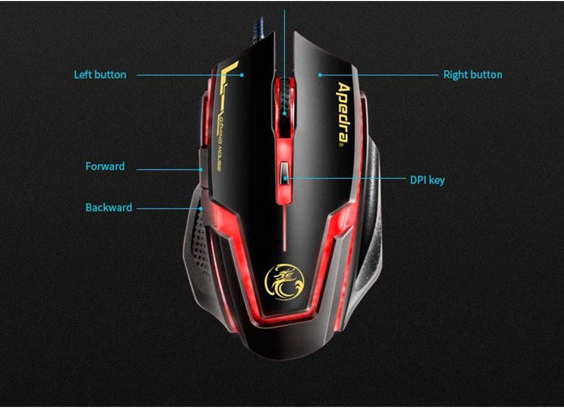Huangyongchun 2.4G Wired Mouse Portable Mobile Optical Mouse 4 Adjustable DPI Levels 6 Buttons for Notebook Computer Color : Black e-Commerce Version