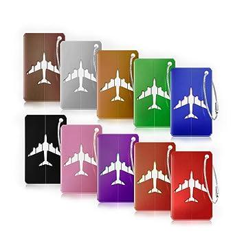 7925a90316 Bagages Étiquettes, otumixx 10 Pièces Mix Couleurs Étiquette de Bagage en  Alliage d'aluminium
