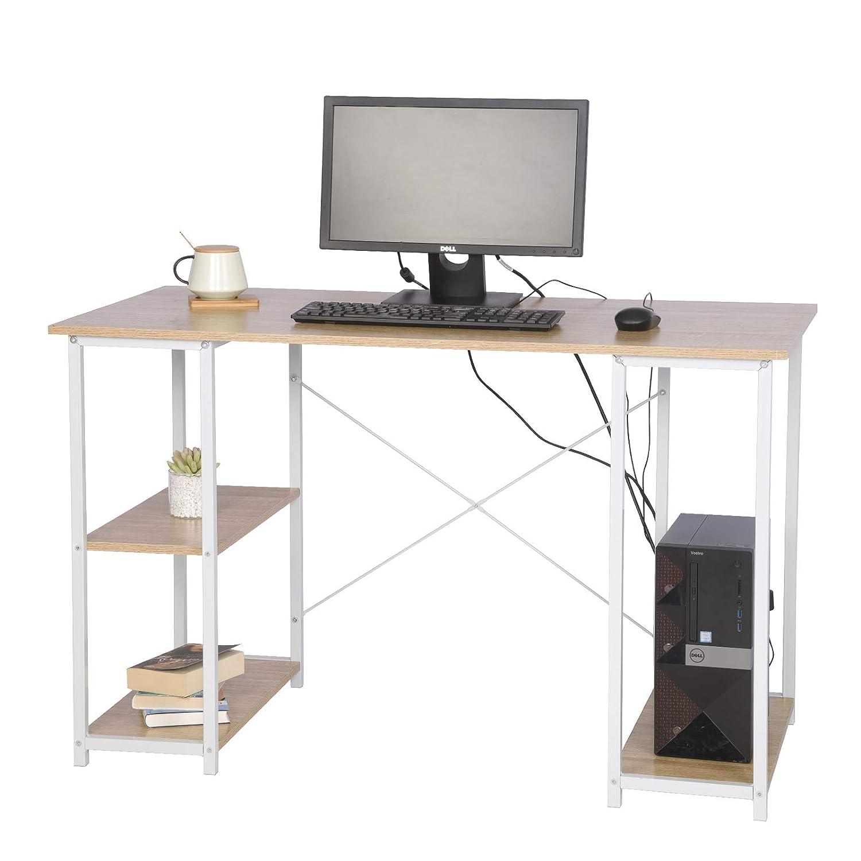 eSituro Escritorio de Ordenador Mesa de Trabajo PC Computadora Mesa de Oficina con 3 Estantes Madera+Acero 120x60x75 cm SCD0059