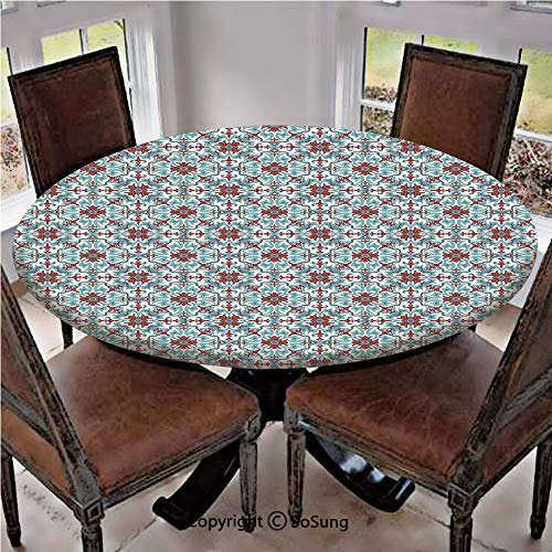 Elastic Edged Polyester Fitted Table Cover,Ethnic Antique Floral Pattern Italian Majolica Style Ornate Illustration,Fits up to 36