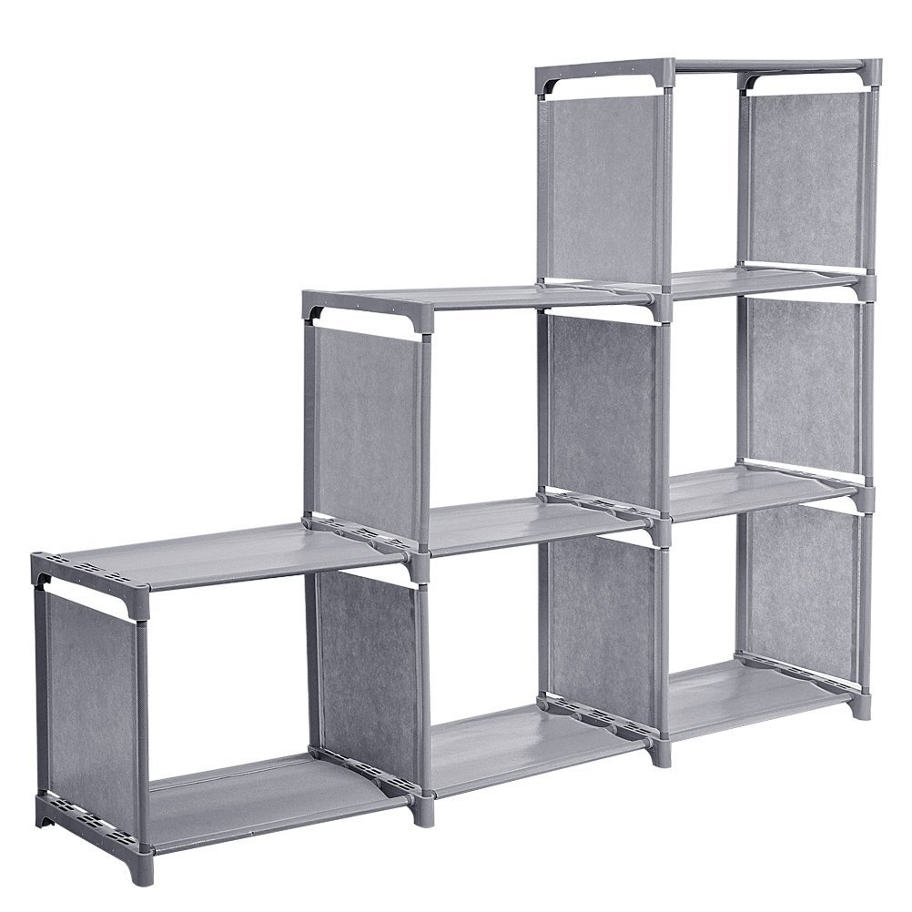 HBlife DIY Bookcase Display Storage Shelf Grey Step rack Fabric for Clothes, Shoes, Toys and Books etc.