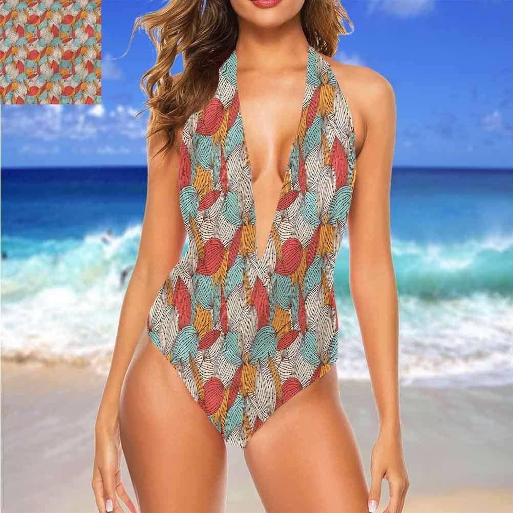 Adorise Halter Maillot de bain Automne, Branches Feuilles Automne Idéal pour Voyage à Hawaï Multicolore 06