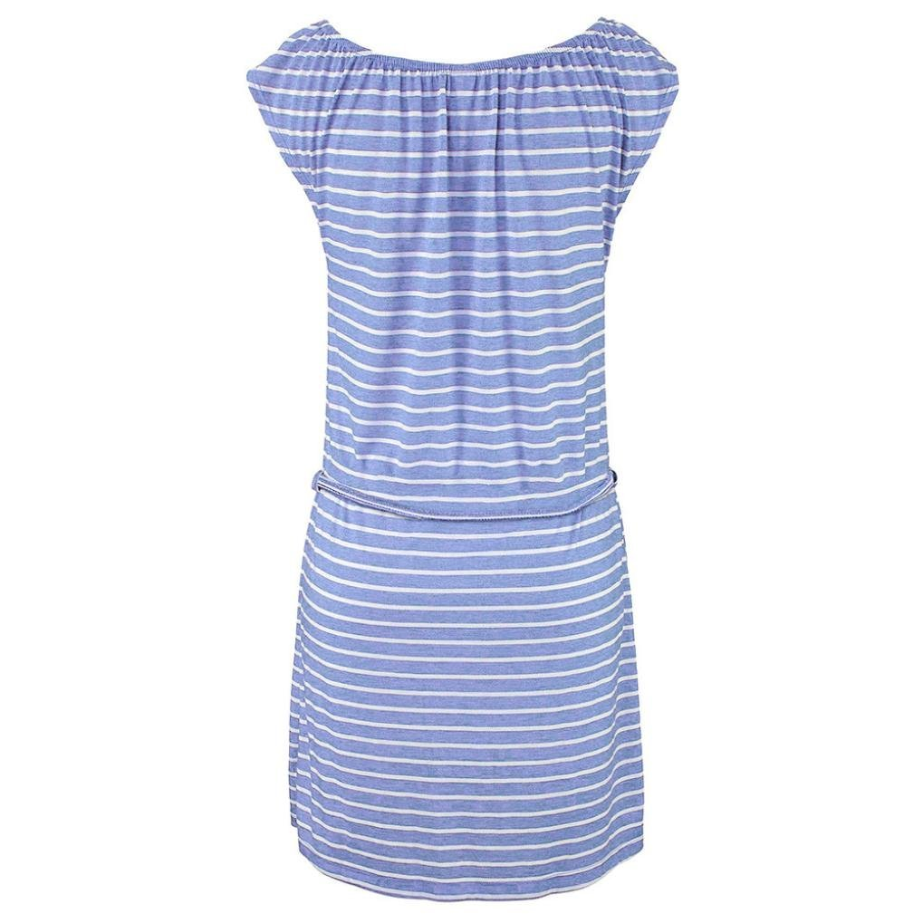 NREALY Dress Womens Fashion Summer Boho Stripe Long Maxi Evening Party Beach Dresses Falda