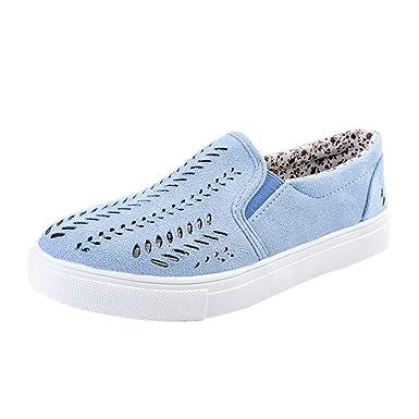 Bestow Zapatos Planos Huecos de Gamuza para Mujeres de Mujer Plataforma Deslizamiento de talón Plano en