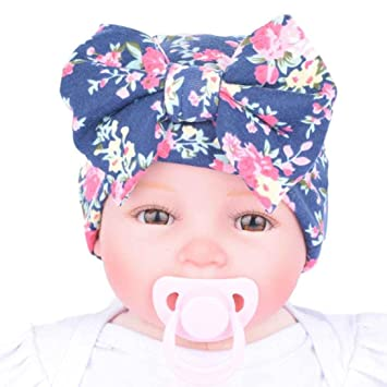 741f46f6aa9 Covermason Cute Newborn Hospital Baby Hats With Flower Bowknot (Blue ...