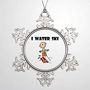 BYRON HOYLE Tree Branch Decoration I Water Ski Water Skiing Picture Ornaments Christmas Snowflake Ornaments Xmas Decor Wedding Ornament Holiday Present