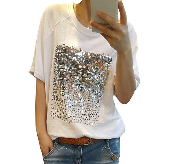 Legendaryman Verano Mujeres Camisetas Moda Lentejuelas Costura tee Camisas T-Shirts Bluas Casual Suelto Cuello