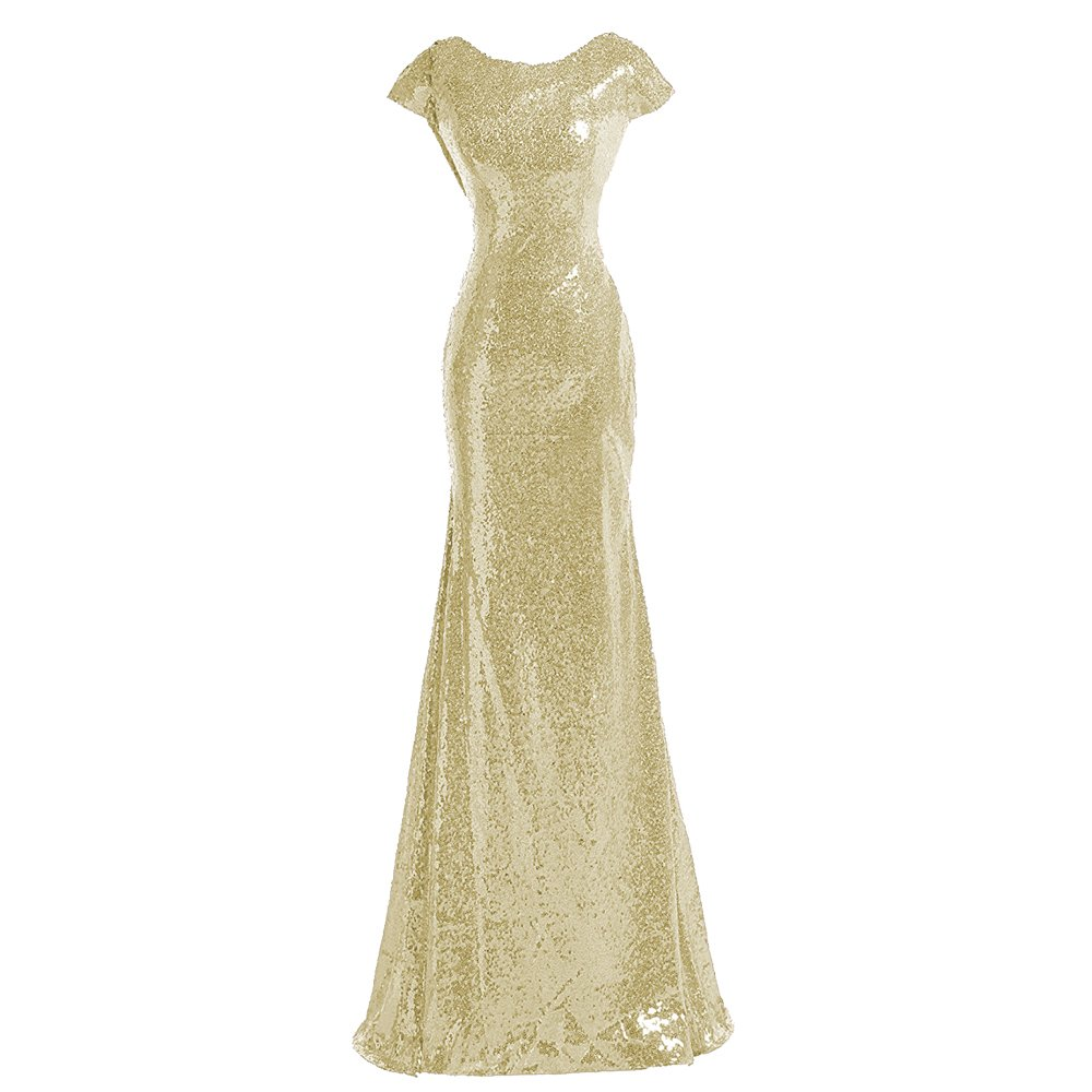 Sparkle Champagne Sequins Bridesmaid Dresses Modest Long Prom Evening Gowns,8,Champagne Gold