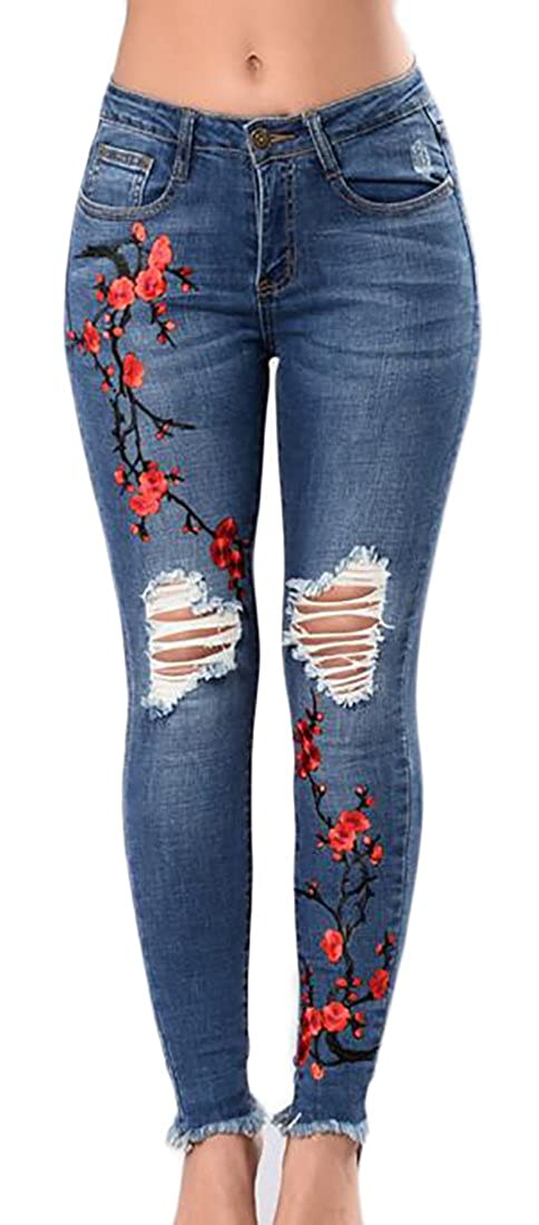 Lucky again-uk Women Embroidery Floral Ripped Holes Jeans Skinny Denim Pants