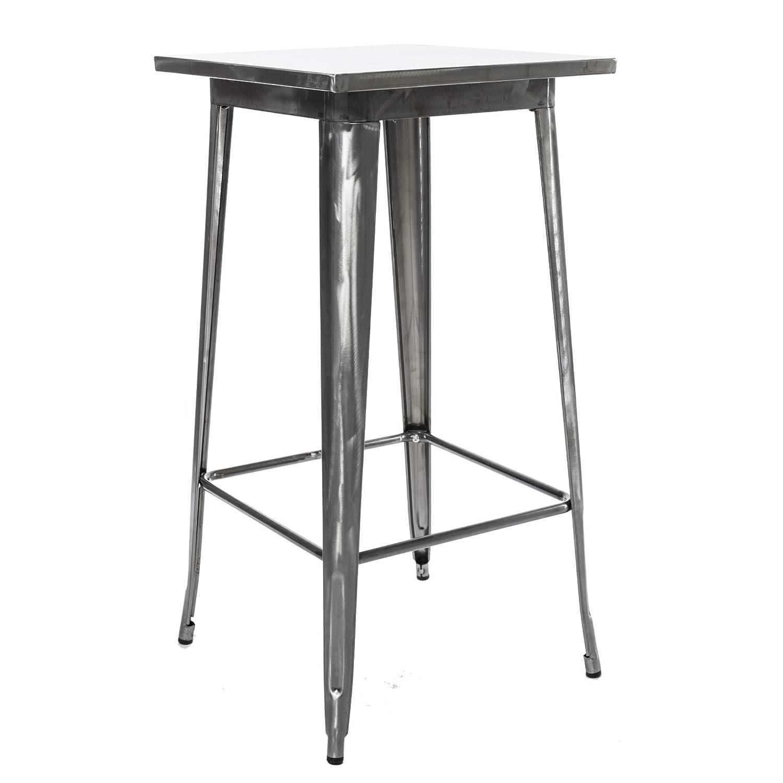BTExpert Industrial Antique Distressed Rustic Steel Metal Dining Pub Square Table 23.5 , Restaurant