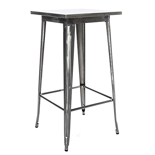 BTExpert Industrial Antique Distressed Rustic Steel Metal Dining Pub Square Table 23.5 , Restaurant