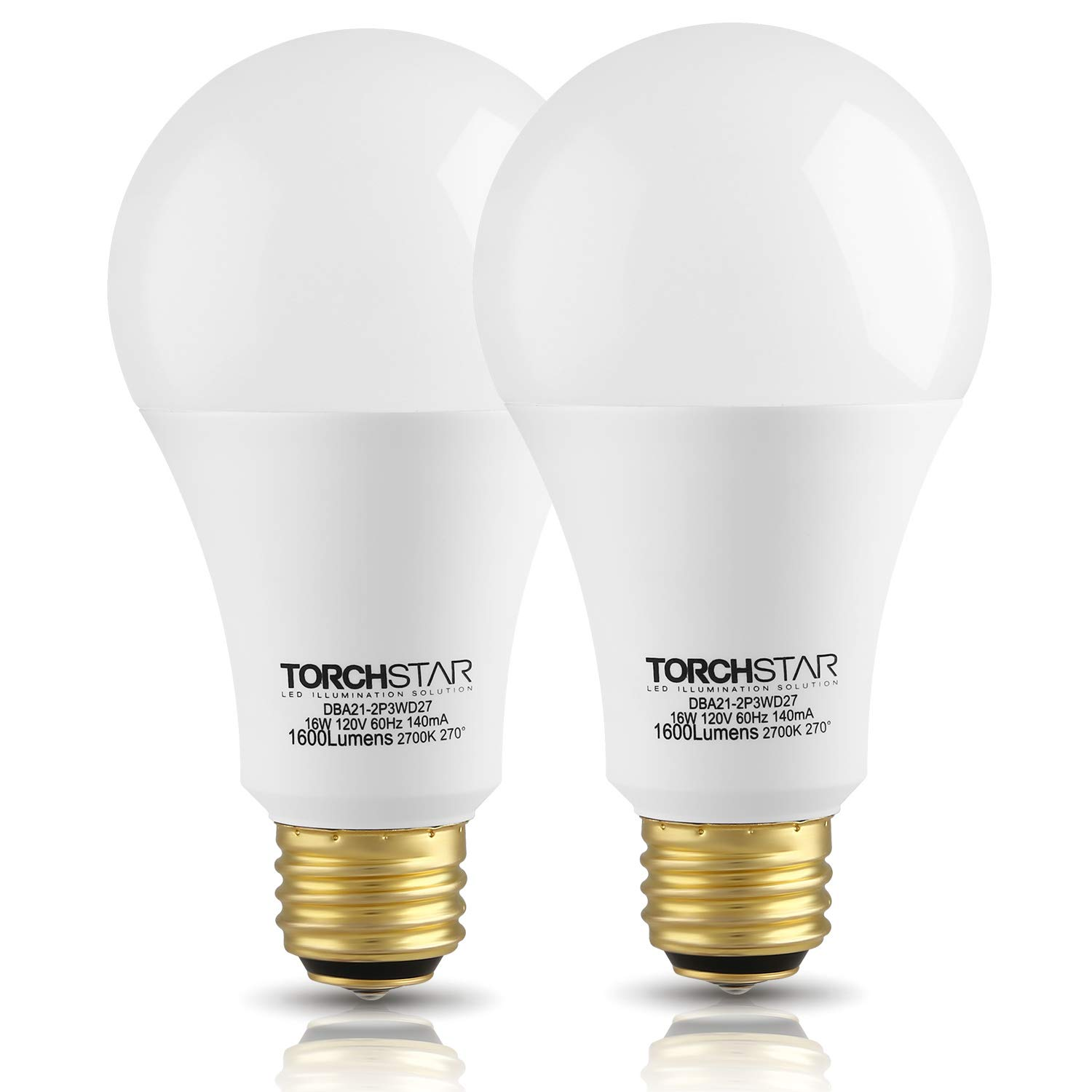 TORCHSTAR 3-Way 40/60/100W Equivalent LED A21 Light Bulb, ENERGY STAR + UL-listed, 2700K Soft White, E26 Medium Screw Base, for Table Lamp, Bedside Lamp, Pack of 2