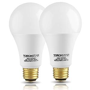 TORCHSTAR 3-Way 40/60/100W Equivalent LED A21 Light Bulb, ENERGY STAR + UL-listed, 2700K Soft White, E26 Medium Screw Base, for Table Lamp, Bedside Lamp, Pack of 2