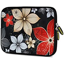 "Amzer 7"" to 7.75"" Designer Neoprene Sleeve Case for iPad/Tablet/e-Reader and Notebooks, Wildflowers Red and White (AMZ5239077)"