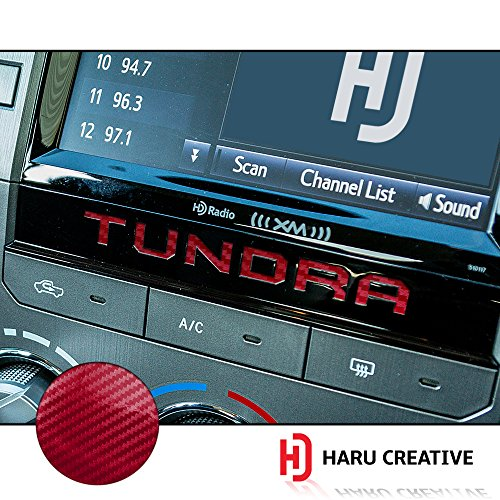 Carbon Dash Insert - Haru Creative - Radio Dashboard Letter Overlay Vinyl Decal Sticker Compatible with and Fits Toyota Tundra 2014-2018 - 5D Gloss Carbon Fiber Red