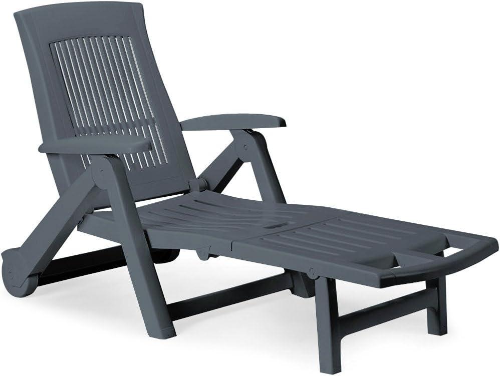 inkl klappbar Verstellbare Rückenlehne Farbauswahl anthrazit Kunststoff Rollen Deuba Sonnenliege Zircone Gartenliege Rollliege Liegestuhl
