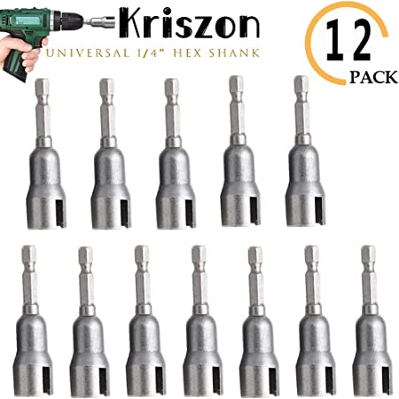 Power Wing Nut Driver Set Slot Drill Bit Socket Wrenches Panel Nut Steel Silver