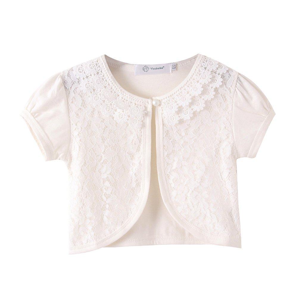 ZHUANNIAN Little Girls Bolero Short Sleeve Cap Lace Top (6-7, Off White)