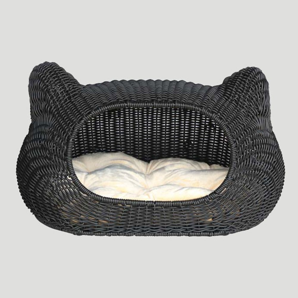 Deep Khaki WXWX Pet Supplies Cat And Dog Bed House Rattan Material Oval Semisurrounded Pure Hand Weaving Black Deep Khaki Multifunction (color   Deep khaki)