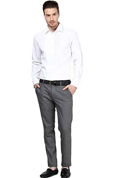 78a5046f3e2 SSB Men s Cotton Party Wear Solid White Shirts  Amazon.in  Clothing ...
