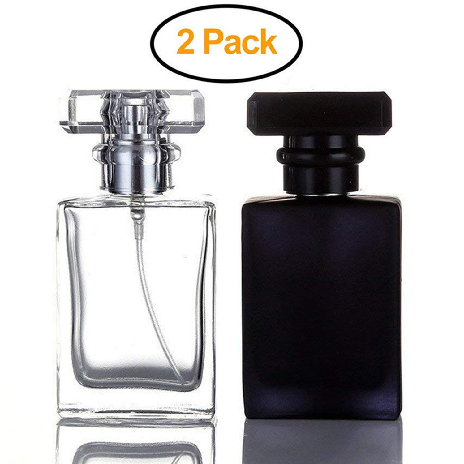 Futureup 2 Pack - 30ML Flint Glass Refillable Perfume Bottle, Square Portable Cologne Atomizer Empty Bottle with Spray Applicator For Travel (Transparent and Black)